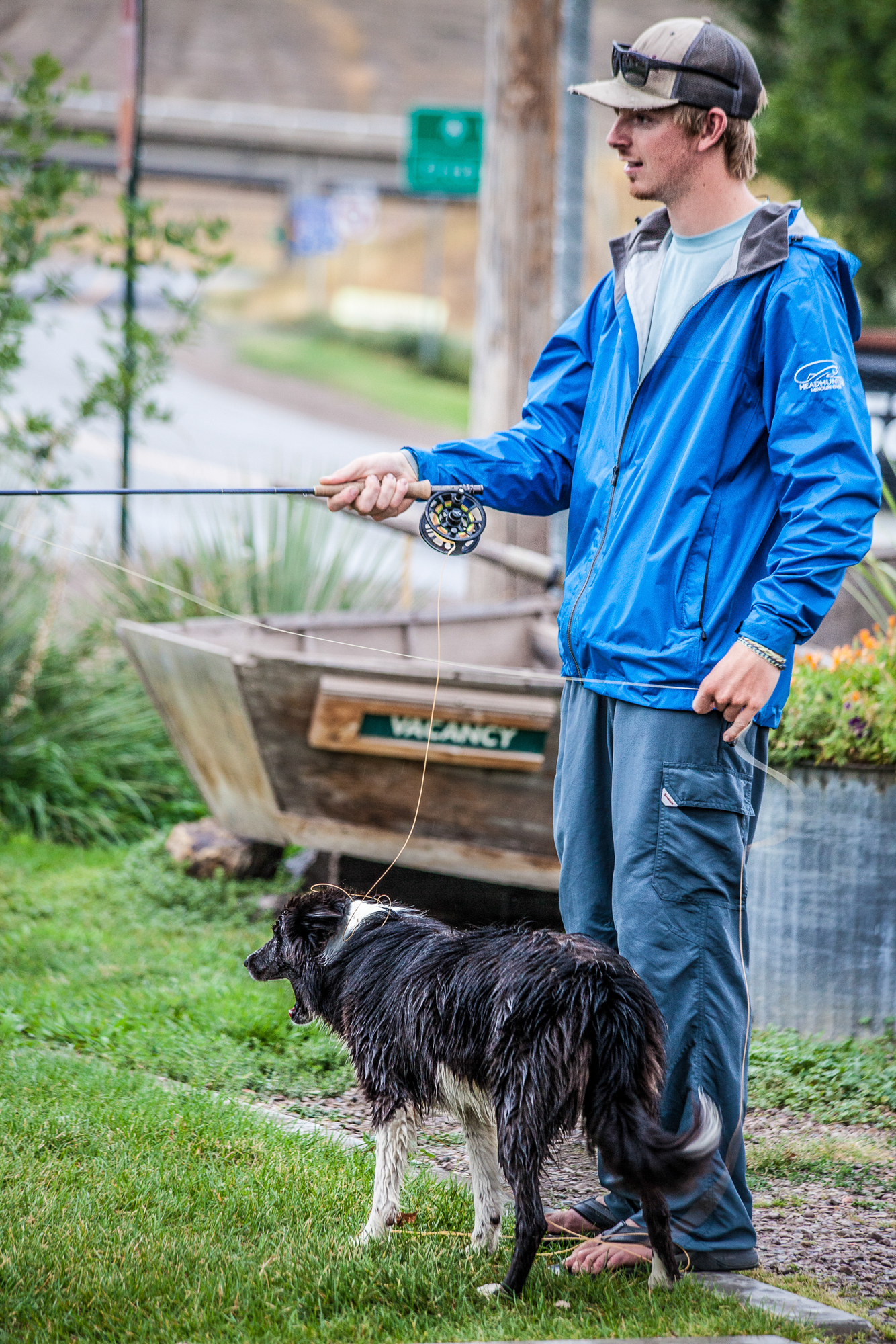 Who needs a casting basket when they have a Border Collie? Headhunters Shop rat Jake Gates logs his daily 30 minutes at the Craig Casting Club, aided by mower-herding stray-come-shop-dog Marley.