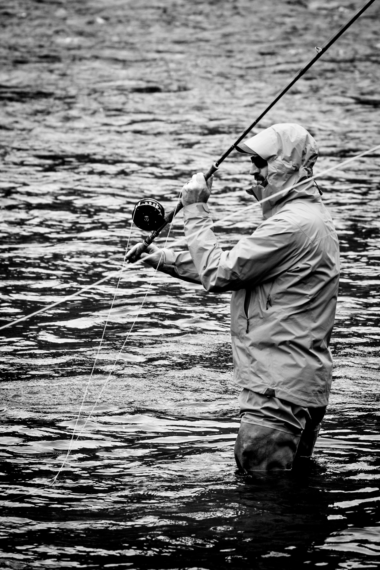 Troy makes some spey casts as the skies start to drizzle a little rain on us.  It's looking like the day is winding down, the coffee is wearing off and the hike out is long.