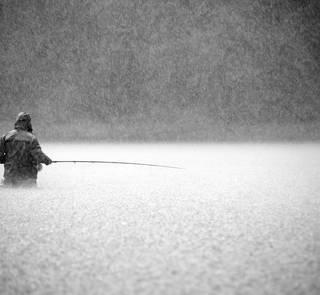 Steelhead fishing in the rain