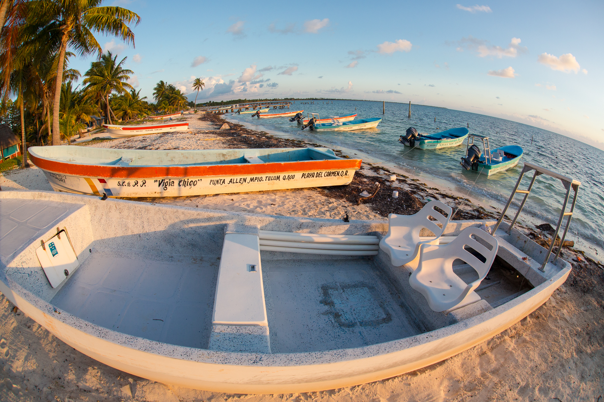 Mexican panga boats can navigate remarkably skinny water, almost as skinny as the most advanced modern flats skiffs. Unlike flats skiffs, however, panga boats have the brawn to handle often encountered swell and chop that is part of the long runs across Ascension Bay. (photo: Chad Shmukler)