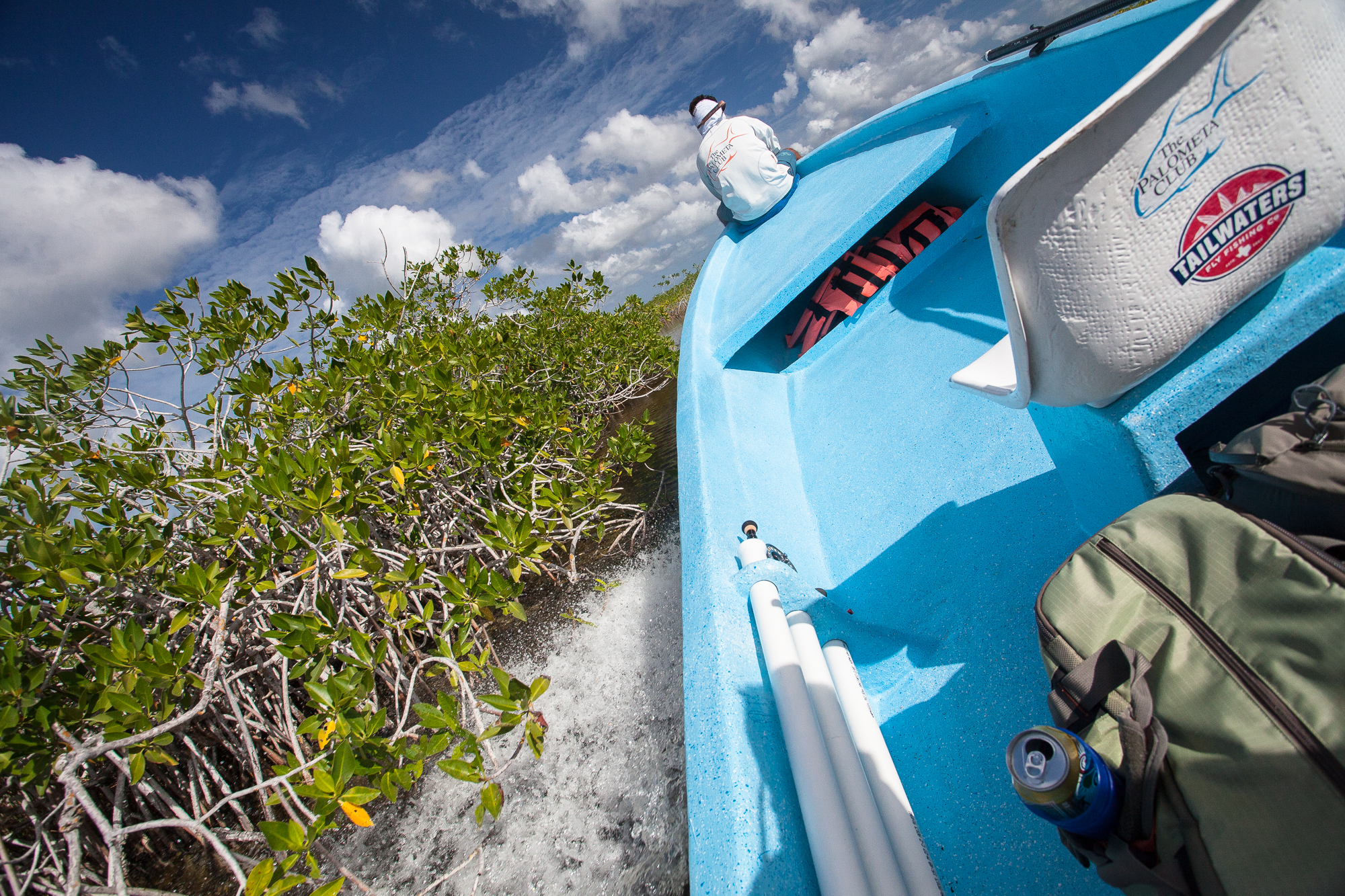 (1/2) More extended diversions into freshwater laden channels involve exhilarating panga rides through the mangrove, in search of tarpon and snook (photo: Chad Shmukler).