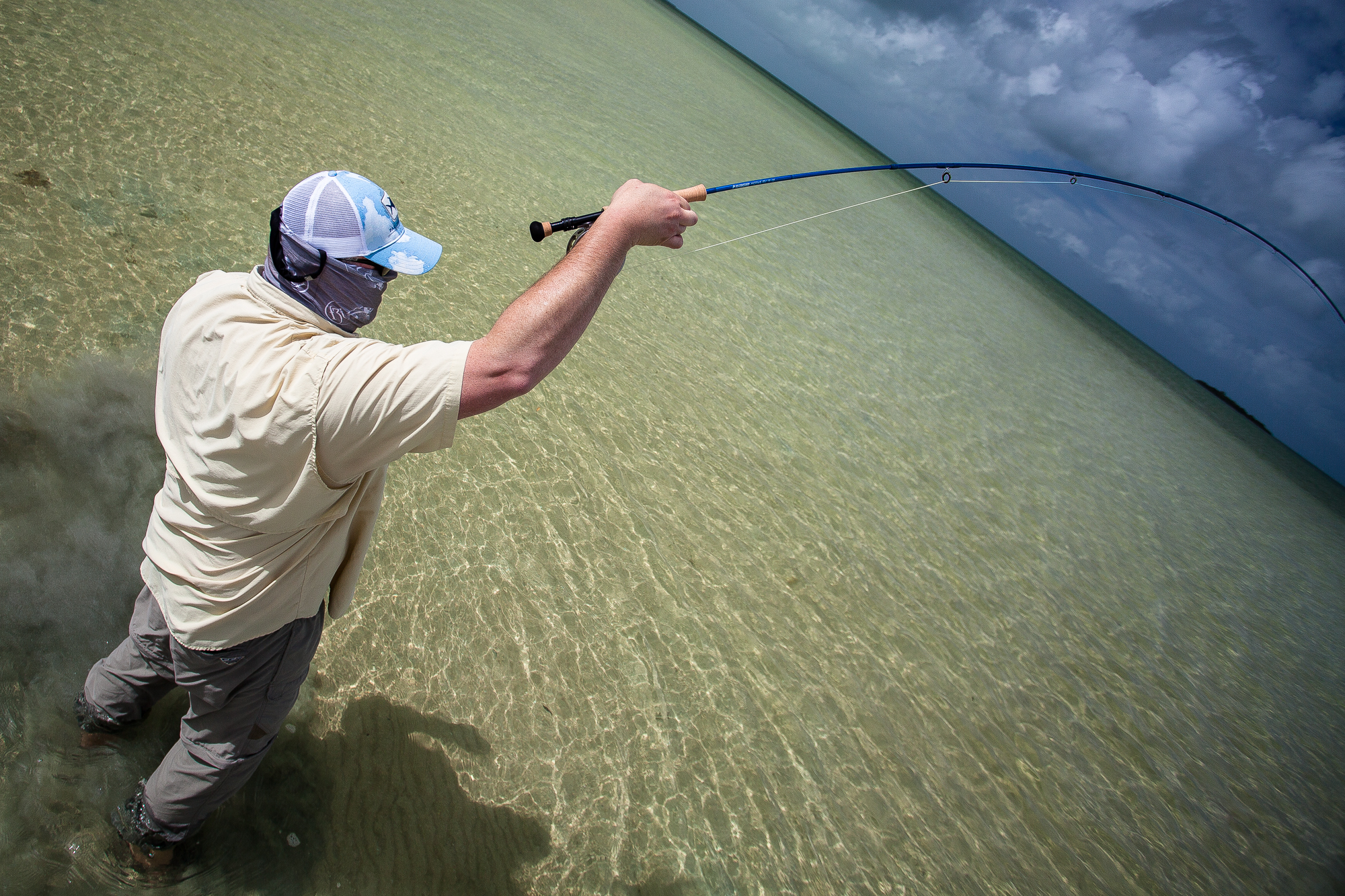 (1/2) As quickly as the storm approaches, it passes, and sun re-appears on the northern horizon. The many bonefish that come to hand continue to surprise in terms of their size. While Ascension Bay's bonefish are known to be plentiful in number, they aren't known for their size. Reports from recent years suggest large specimens are becoming more common, and the evidence matches (photo: Chad Shmukler).