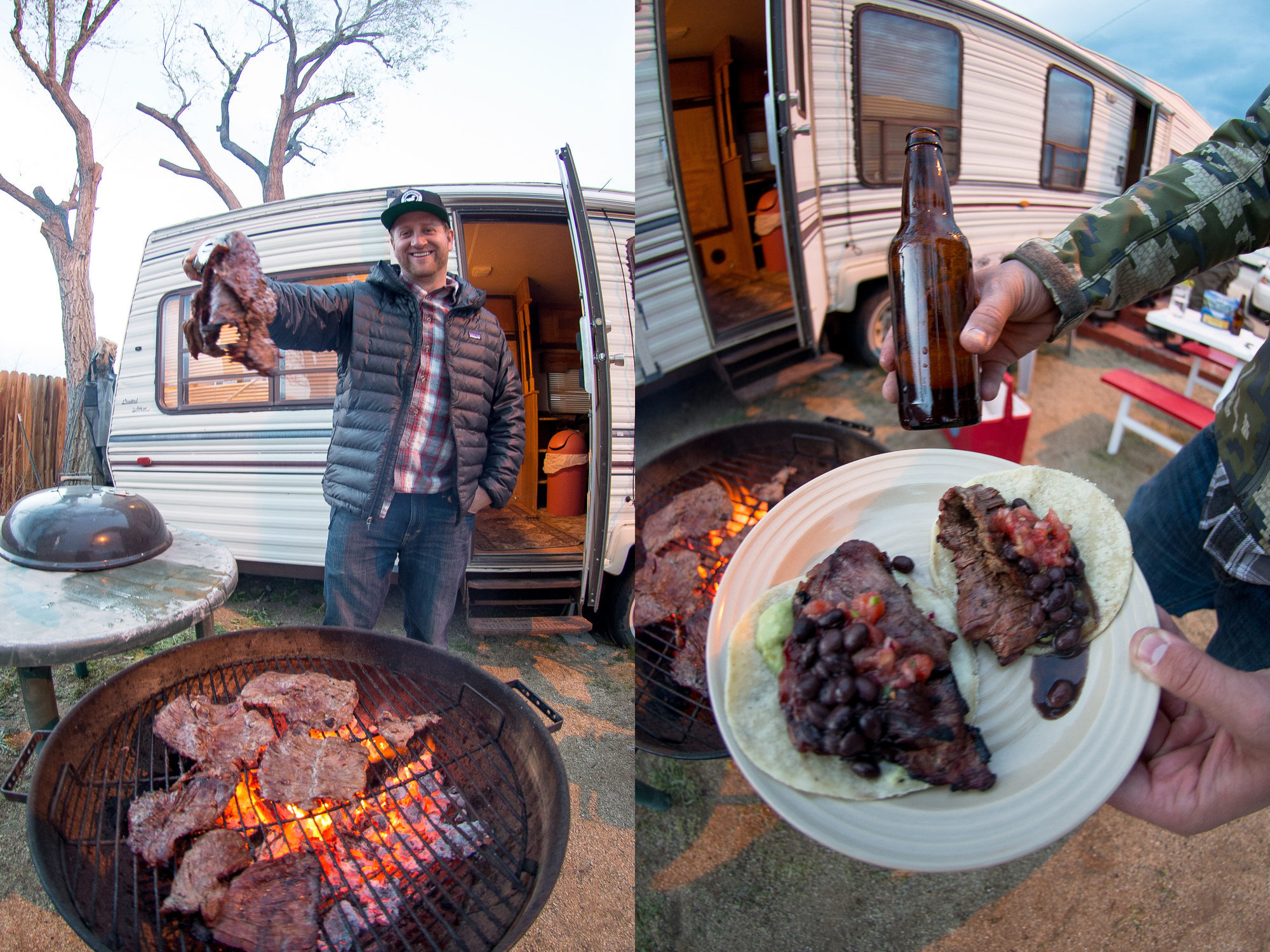 Kyle Graf brought carne asada for tacos the first night. We made short work of those because we are men and as men we are obliged to consume massive amounts of meat product. Luckily for us the next night, Weston, in a supreme display of manliness, brought marinated elk steaks from an animal he shot himself. Proper.