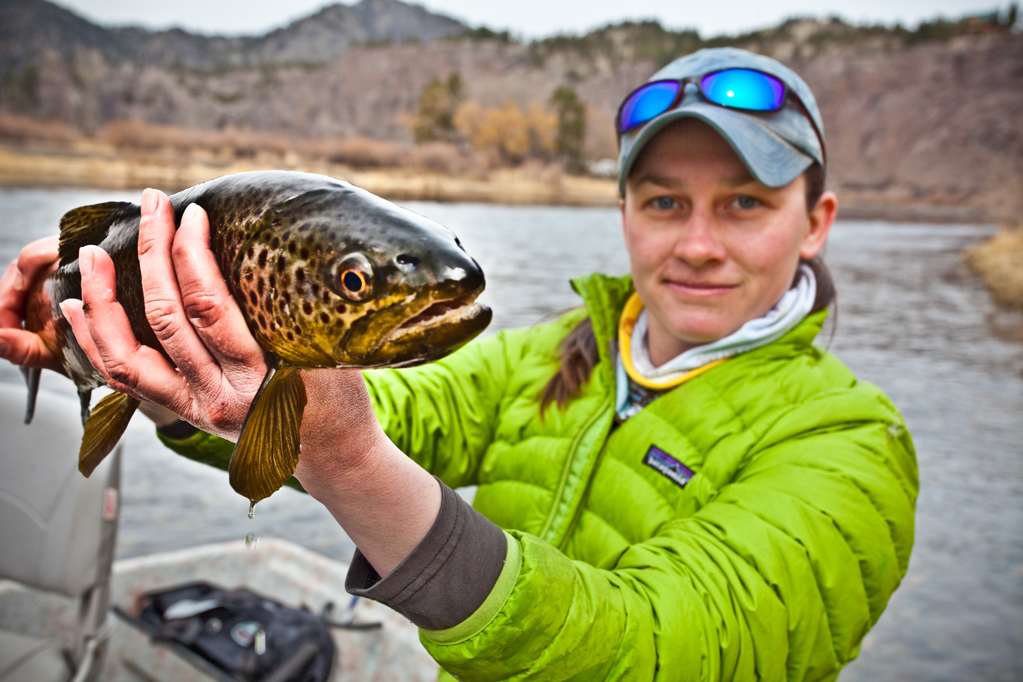 Meet my new friend, Doc Brown. Sara Roholt shows off the fruits of a chilly spring day on the river.