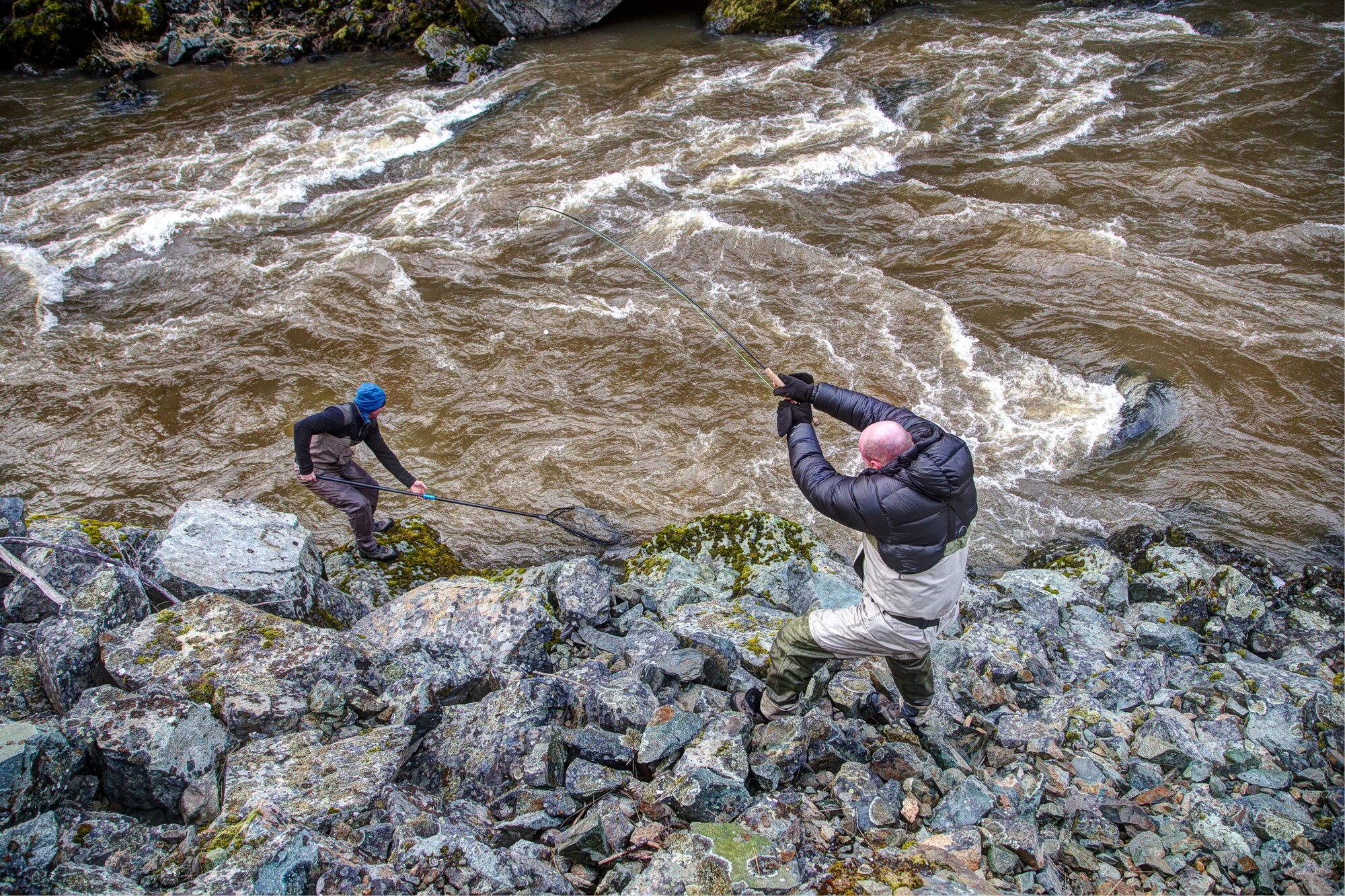 Some fish just can't be landed by your lonesome. This great action shot by Justin Hamblin shows angler brothers Pete and Ben work together to land a big B Run Steelhead in raging, off-colored water.