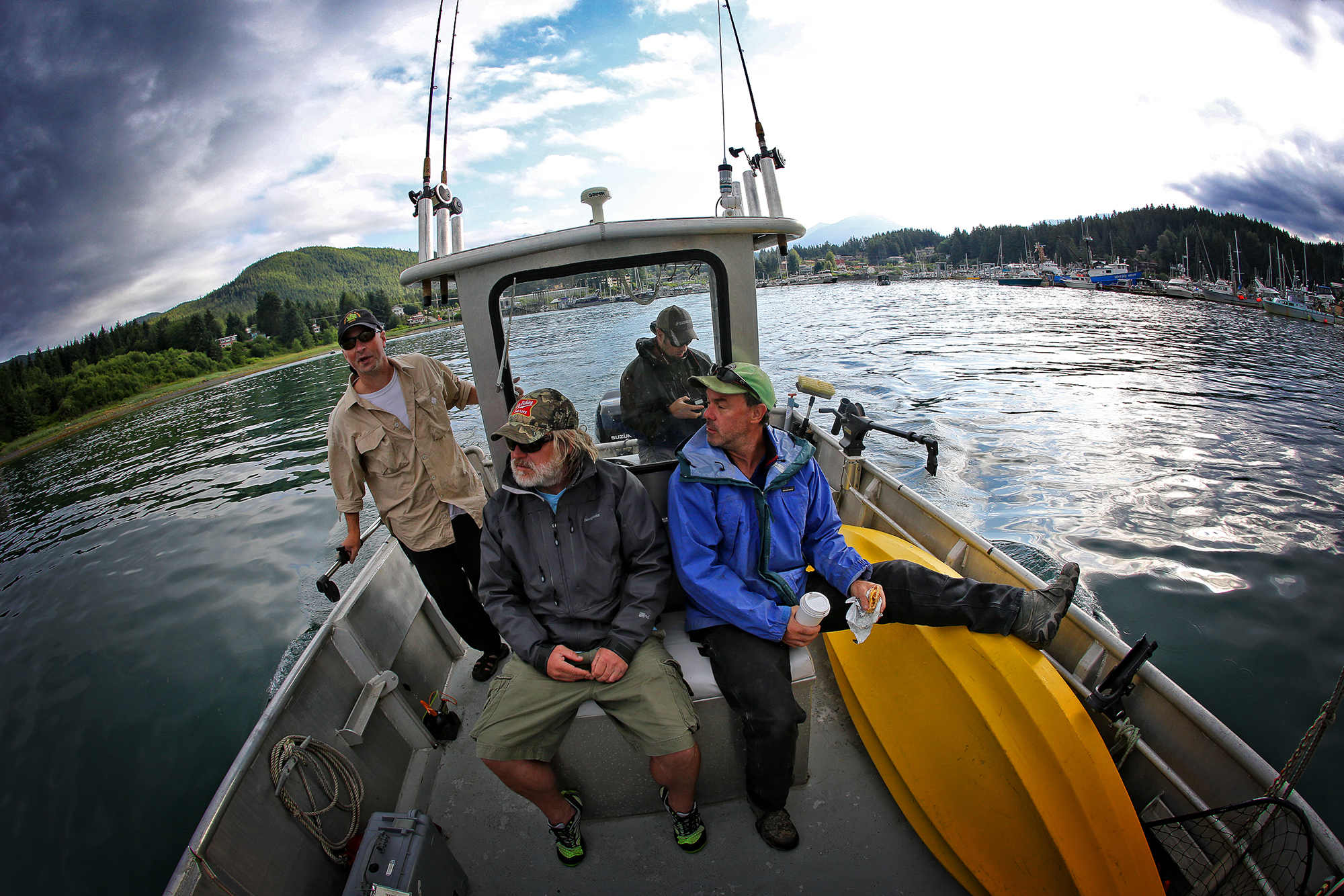 Setting out by boat from a Juneau Harbor for Admiralty Island, talk is of bears. Admiralty is home to the world's highest concentration of brown bears, with a concentration of just under one bear per square mile (photo: Earl Harper).