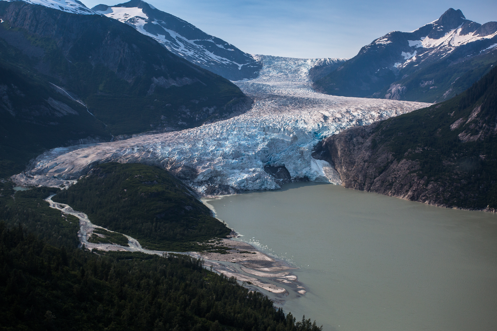 The Taku Glacier, one of the seemingly countless glaciers that surround Juneua, is seen here from the air. The Take glacier is a tidewater glacier known to be the thickest glacier in the world at nearly 5,000 feet thick (photo: Chad Shmukler).