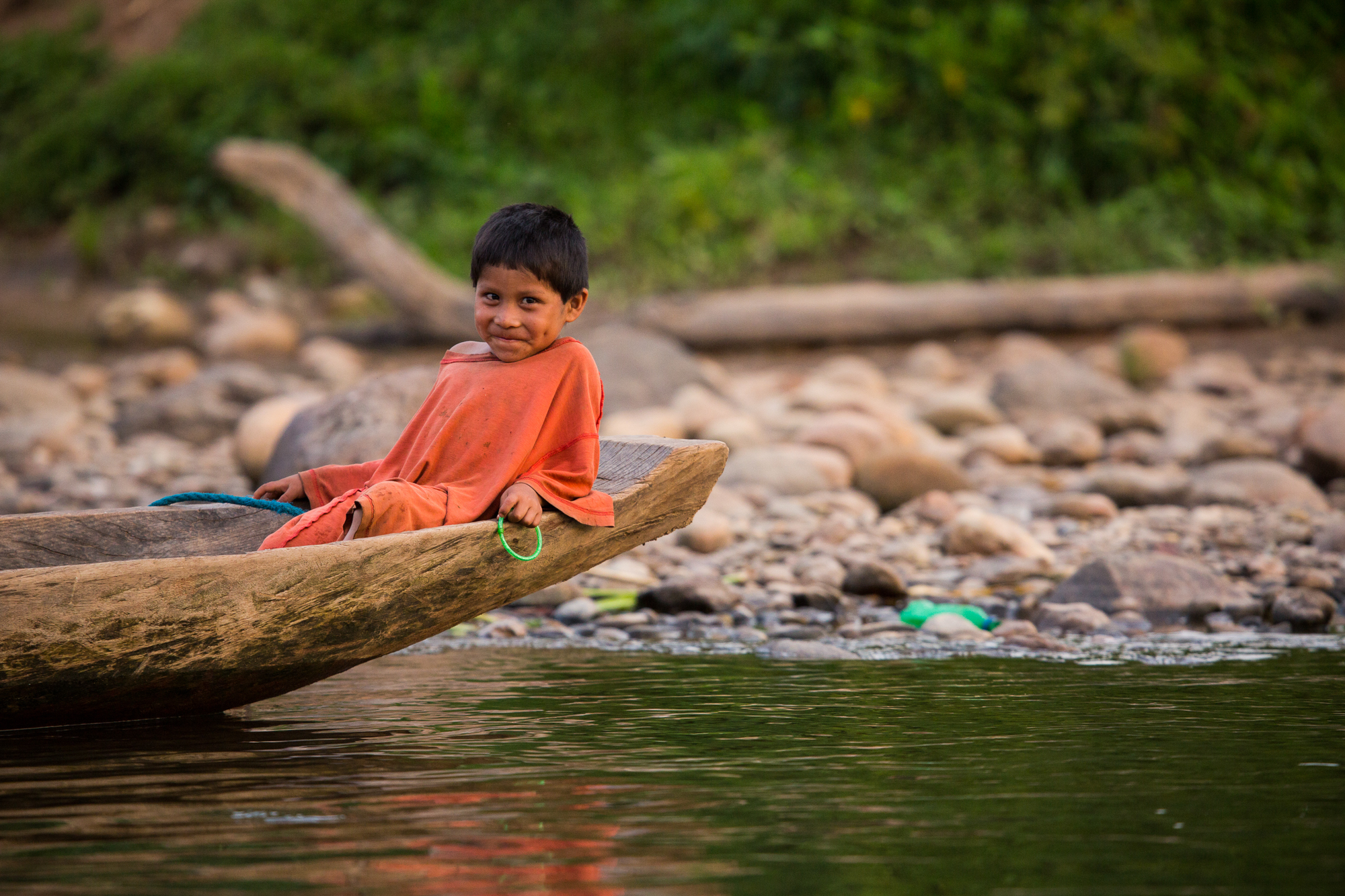 This Tsimane boy is shy in front of the camera.