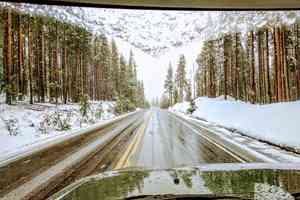 snowy road driving