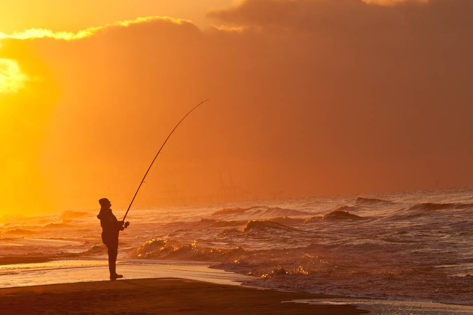 Sunset Fisherman - by Teddy Dako