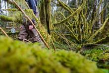 angler in woods