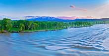 Yellowstone River flows at full bank