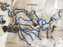 children's map of rivers in yarn