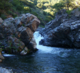 Deer Creek Falls and fish ladder, near Highway 32 in Tehema County, California.