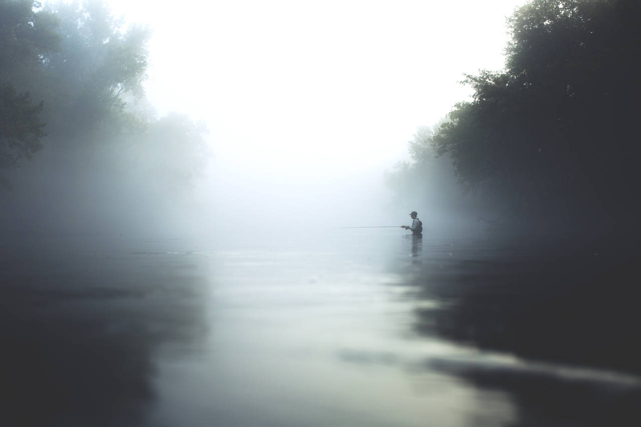 fly fishing in the fog